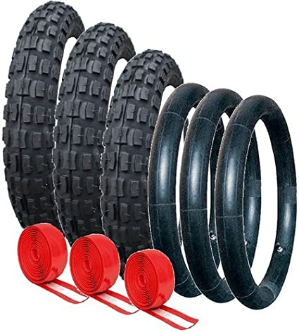 PHIL /& TEDS DOUBLE PUNCTURE PROTECTED TYRE AND TUBE SET OFF ROAD TREAD PATTERN