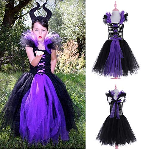 WensLTD Girls Halloween Costume, Toddler Kids Baby Girls Princess Halloween Cosplay Tutu Dress Party Costume (18-24 Months, Purple) -
