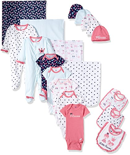 Gerber Baby Girls' 19-Piece Essentials Gift Set, Pink Princess, ()