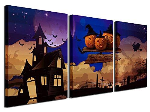 Halloween Pumpkin Artwork (Gardenia Art - Happy Halloween Canvas Prints 5 Pumpkin Lantern Wall Art Paintings Abstract Wall Artworks Pictures for Living Room Bedroom Decoration, 16X12 inch, 3)