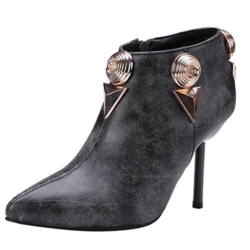 Carolbar Womens Zip Spetsig Tå Retro Chic Hög Klack Boots Grå