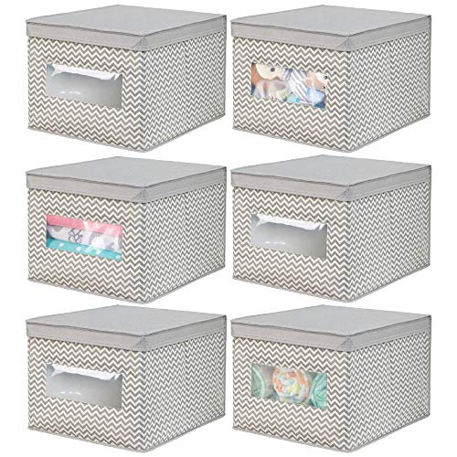(mDesign Decorative Stackable Fabric Closet Storage Organizer Holder Box - Clear Window, Lid, for Child/Kids Room, Nursery - Large, Collapsible Foldable - Chevron Zig-Zag Print, 6 Pack -)