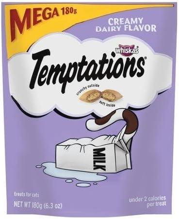 Temptations Whiskas Cat Treats, Creamy Dairy Flavor, 6.3 oz Crunchy Outside, Soft Inside