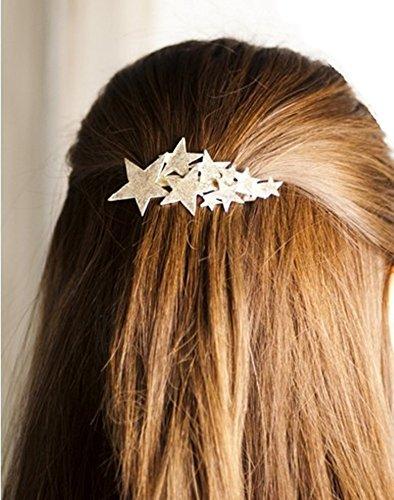 QTMY 2 PCS Metal Stars Hairpin Hair Clips Hair Accessories (Tone Silver Pin Leaf Brooch)