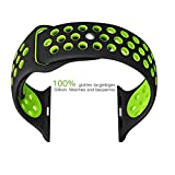 Apple Watch Band, Soft Silicine+ Sport Wrist Strap for iWatch,Quick Release Replacement Strap (Black and Green,38mm)