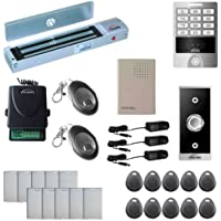 Vsionis FPC-5628 One Door Access Control Outswinging Door 600lbs Maglock with VIS-3004 Outdoor Weatherproof Metal Touch Keypad/Reader Standalone No Software 2000 Users with Wireless Receiver Kit