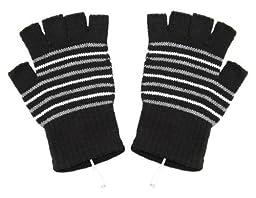 MERSUII Stripe Pattern USB 2.0 Heating Fingerless Gloves Hands Warmer Warm Gloves Mittens Computer Gloves