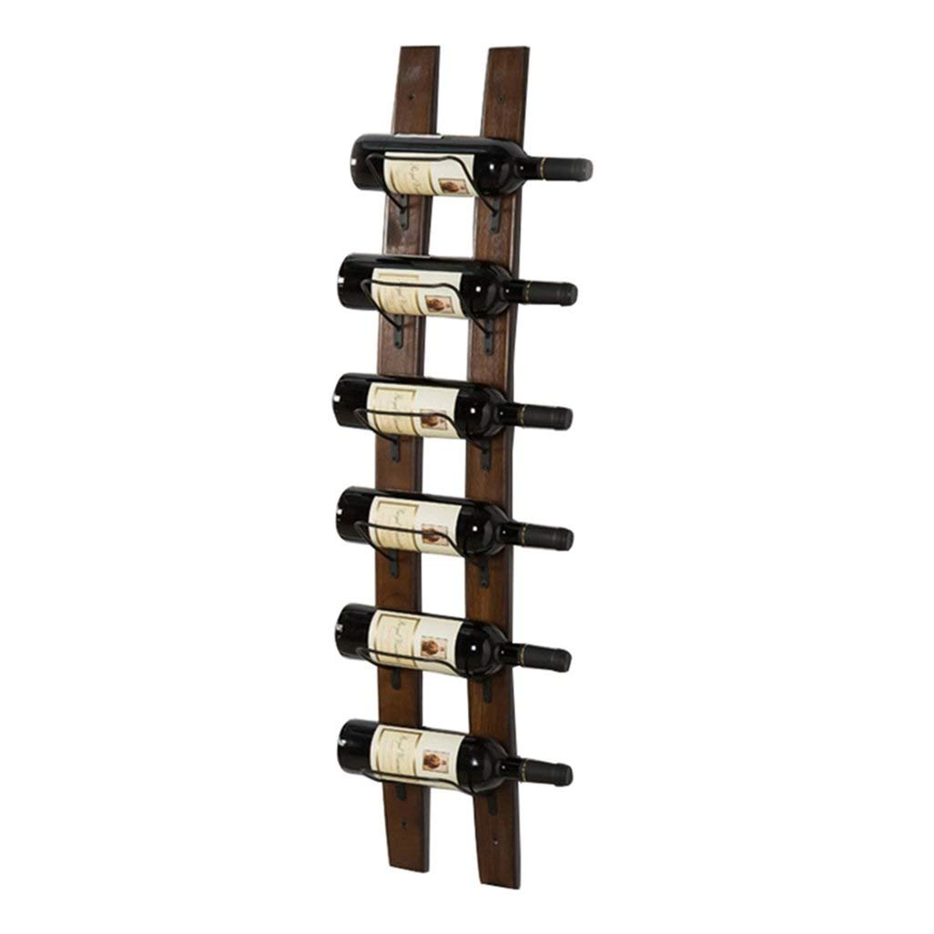 SZPZC Wine Bottle Holder Vintage Retro Wall Mount Metal Wine Rack Bottle Wood Shelf for Restaurants, Bars, Daily Home Furnishings (Hold 6 Bottles) Length:110cm by SZPZC