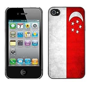 Be Good Phone Accessory // Dura Cáscara cubierta Protectora Caso Carcasa Funda de Protección para Apple Iphone 4 / 4S // National Flag Nation Country Singapore