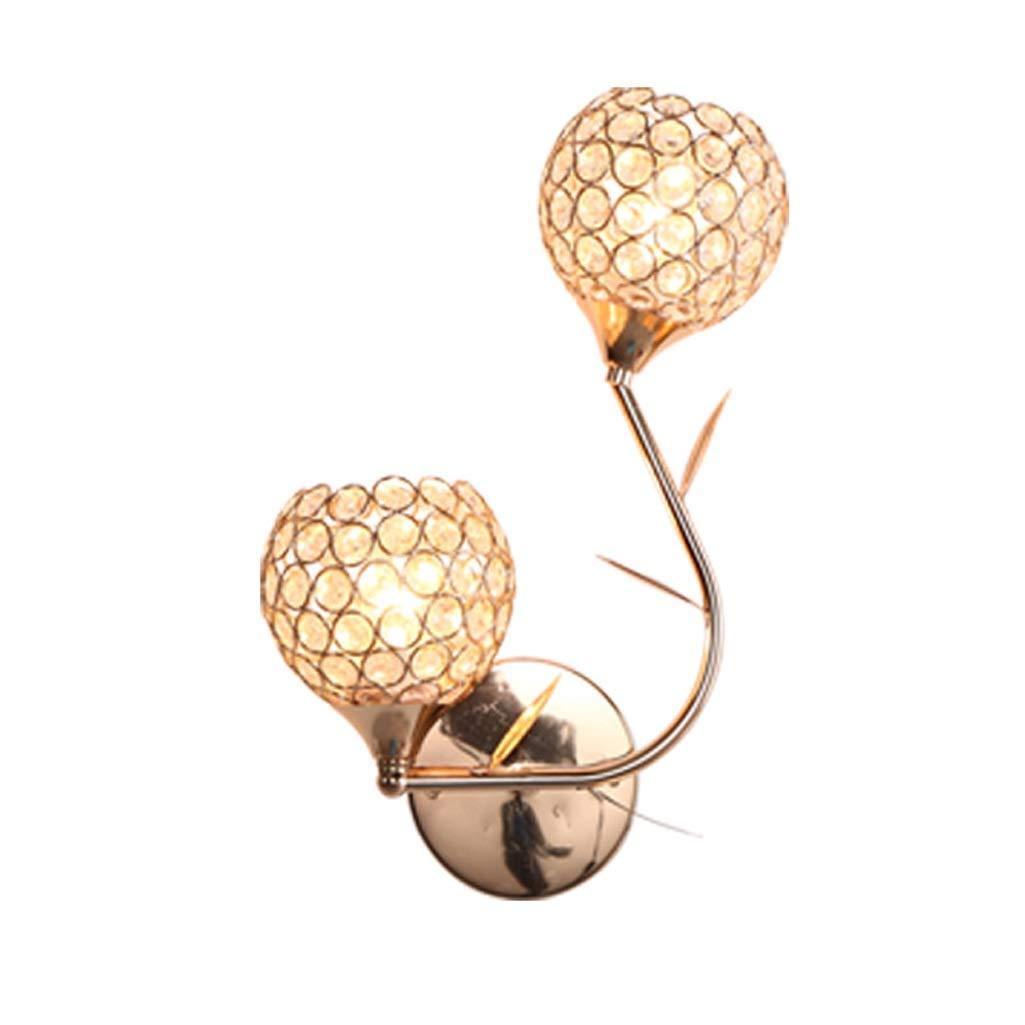 B Double Head QIULAO Wandleuchte, Moderne minimalistische Art-dendritische Goldkristallwandlampe, Lampe E27, Gang-   Wohnzimmer-   Bett-   Ausgangswand-kreative dekorative Wandlampe (Farbe   B Double Head)