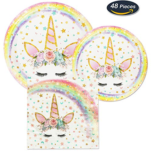 AMZTM Magical Unicorn Party Supplies Set - Colorful Unicorn Dinner Dessert Plates Napkins, 48 Pieces Party Pack Bundle Decorations for Kids Girls Birthday Party Baby Shower Wedding, 16 (Girl Party Plates)