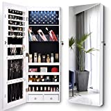 LVSOMT Full-Length Mirror Jewelry Cabinet, Jewelry