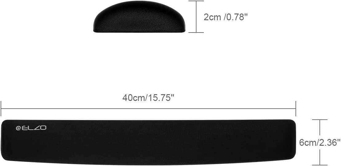 Mac Office /& Travel Laptop Home Non-Slip Rubber Base Mouse Mat with Ergonomic Design for PC Computer 2 Pack ELZO Wrist Rest Support for Keyboard /& Mouse Pad Combo with Comfortable Gel Padding