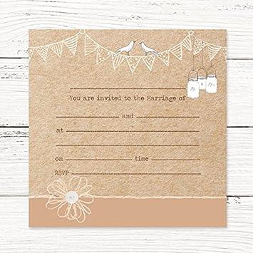 Hochzeit Einladung Postkarte U2013 Vintage Wimpelkette U0026 Love Birds, 10 Stück