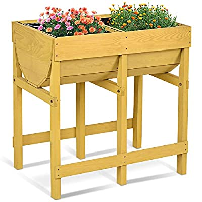 Raised Wooden Planter Vegetable Flower Bed with Liner: Kitchen & Dining