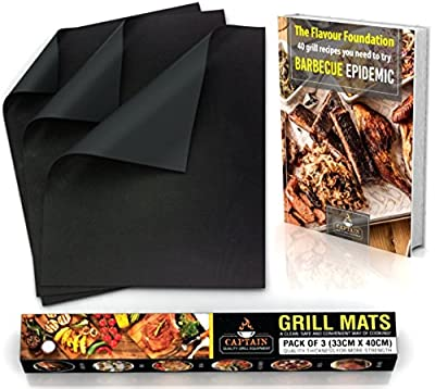 "Silicone BBQ Set Grill Mat + Recipe eBook - Heavy Duty Non Stick - Set of 3 - 16"" x 13"" - Reusable Non-Stick Barbaque Cooking Mat - Grilling Accessories - Barbecue Equipment - Gas Grill, Charcoal"