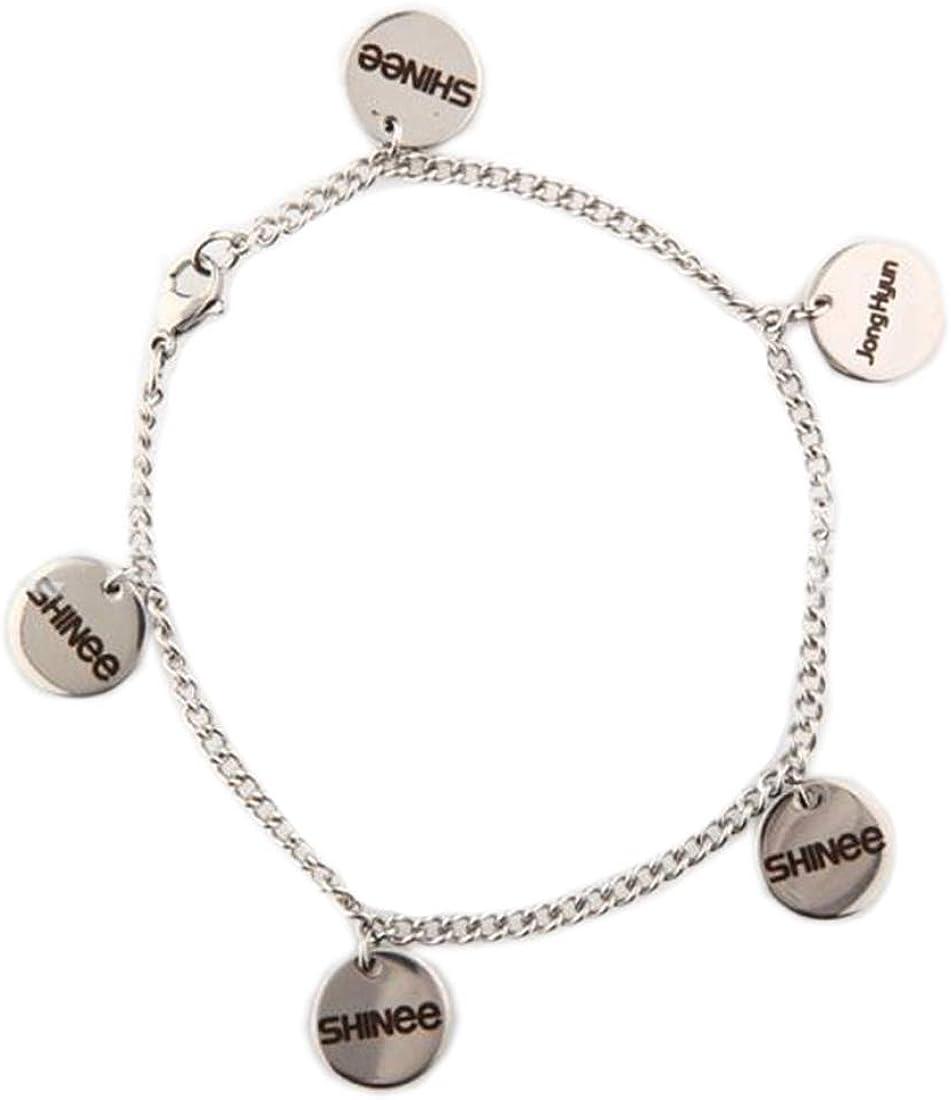ALLDECOR Kpop Titanium Steel Accessories Shinee JongHyun Key Name Pendant Bracelet Women Hand Chain