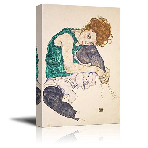 Seated Woman with Bent Knee by Egon Schiele Print Famous Painting Reproduction