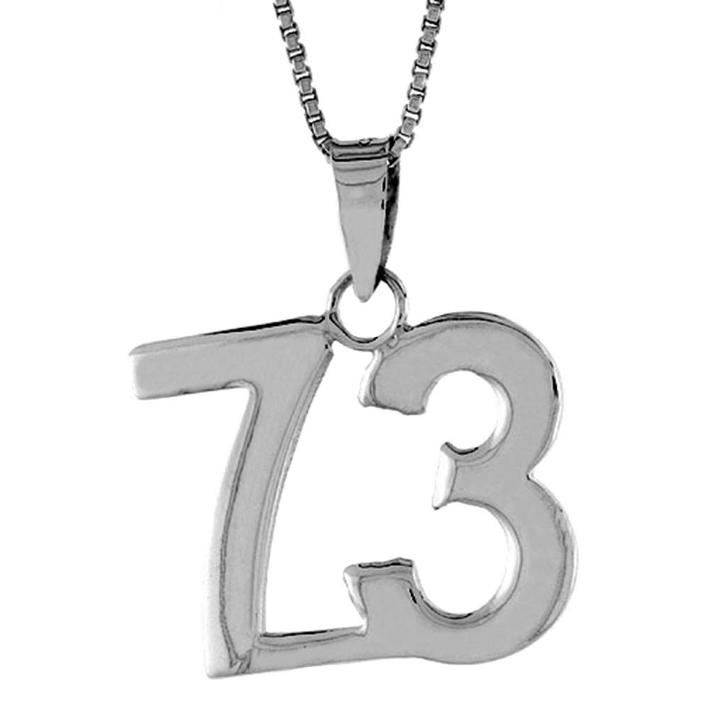 2mm Curb Chain Sterling Silver Number 73 Necklace for Jersey Numbers /& Recovery High Polish 3//4 inch
