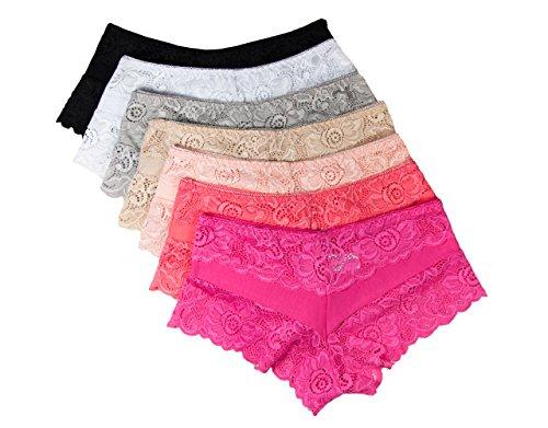Damen Panty, Slip mit Spitze, 7er Pack, in 3 unterschiedlichen Größen, Baumwolle