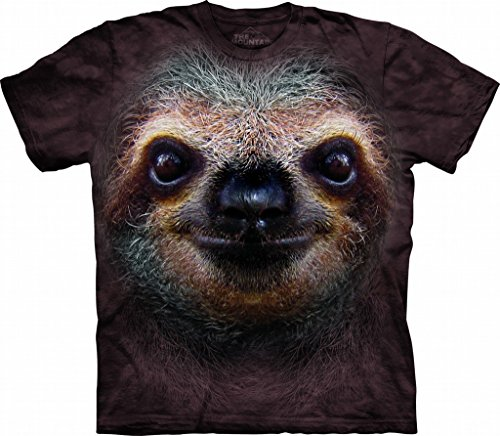 Tuff America Sloth FACE XL Cotton Sloths T-Shirt Brown Youth Short Sleeve T-Shirt
