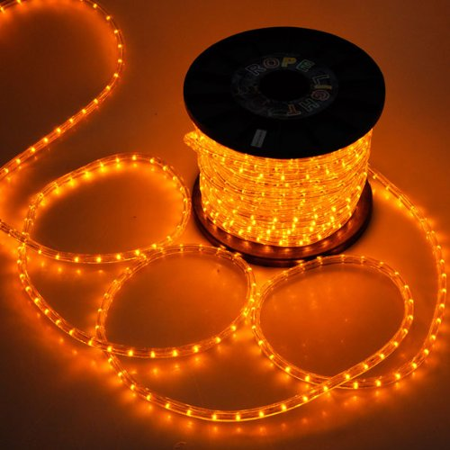 Christmas Strip Lighting 1620 LED Bulbs Round Tube Rope Light 150ft Saffron Yellow w/ Power Cord Connector 2 Wires 110V Cuttable for Holiday Decor Outdoor Indoor