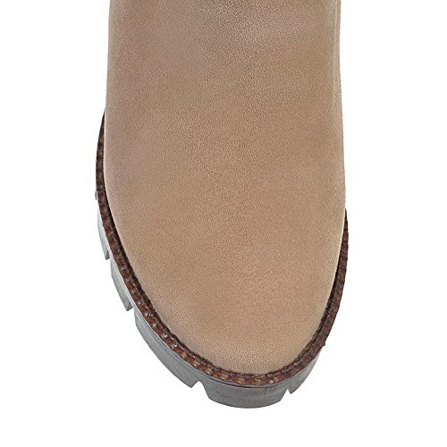 Women's Suede Round Kitten AgooLar Apricot high Ankle Imitated Toe Closed Boots Solid Heels 4dOOSqUw