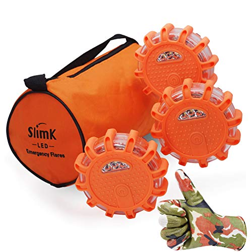 SlimK 3 Pack LED Road Flares, Roadside Safety Discs -Emergency Warning Light Flashing Beacon Kit for Cars Motorcycle Bikes Trucks Boats,Instant Turn-Off Feature.Come with Storage Bag ()