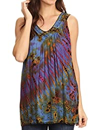 Sakkas Sana Tie Dye Sleeveless Embroidered V-Neck Tank Tunic Top Blouse / Cover Up