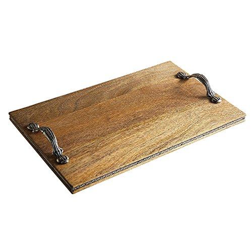 Pier 1 Imports Bennington Wooden & Metal Handle Cheeseboard Serving Board Tray ()