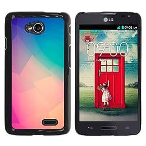 YOYOYO Smartphone Protección Defender Duro Negro Funda Imagen Diseño Carcasa Tapa Case Skin Cover Para LG Optimus L70 LS620 D325 MS323 - melocotón del trullo púrpura arte polígono amarilla