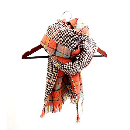 Women's Cozy Tartan Scarf Wrap Shawl Neck Stole Warm Plaid Checked Pashmina (Orang) by Neal LINK (Image #5)