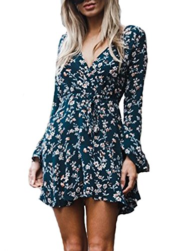 Flare V Casual OQC Mini Swing Print Dark Dress Long Green s Neck Floral Sleeve Women Party Vintage Dress Xwq8HSfw