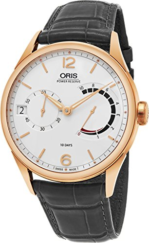 Oris Artelier Calibre 111 10 Days Power Reserve Mens 43mm Beige Face Oris Watch - Swiss Manual Wind Mechanical 18K Rose Gold Watch 01 111 7700 6061-Set 1 23 78