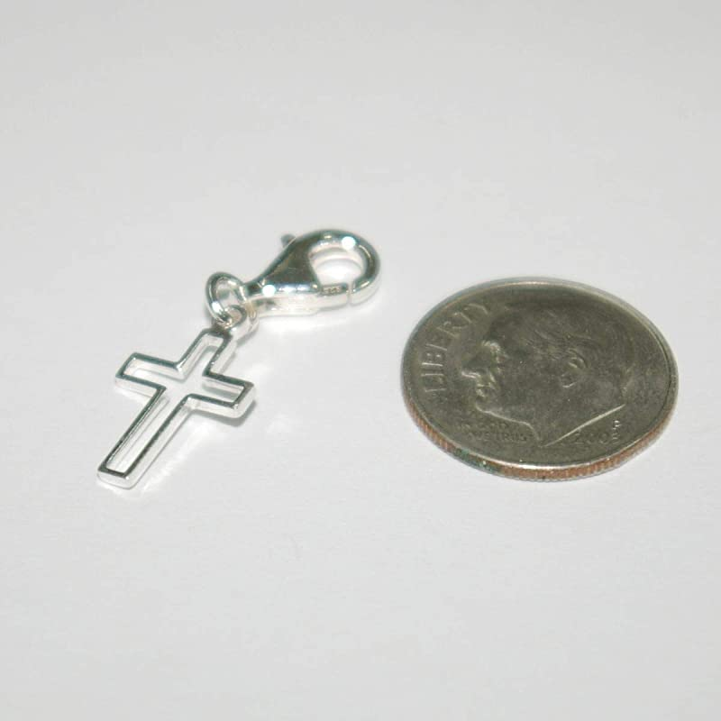 Sterling Silver 925 13mm CROSS Clip On Charm Pendant with 11mm Lobster Clasp