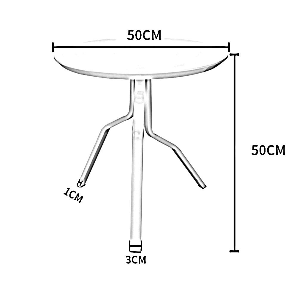 LJHA bianzhuo End Table, Metal Round Sofa Bed Coffee Snack Reading BedsideTable Small Table with High Gloss Paint for Living Room Balcony, White, Red, Yellow Bedside Tables by GYH End Table