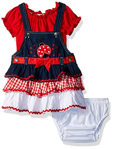 Nannette Baby Girls 2 Piece Short Sleeve tee and Jumper Outfit Set, red, 12M