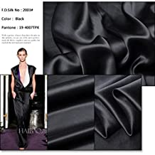 F.D.SILK 19MM 100% Mulberry Black Silk Charmeuse Fabric By the Yard, 48 Colors, Black SZD1903