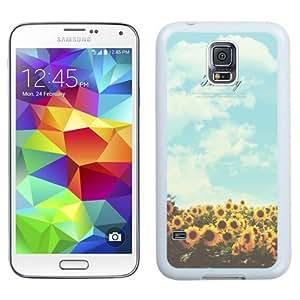 NEW Unique Custom Designed Samsung Galaxy S5 I9600 G900a G900v G900p G900t G900w Phone Case With Sunflower Sky Keep Shining_White Phone Case