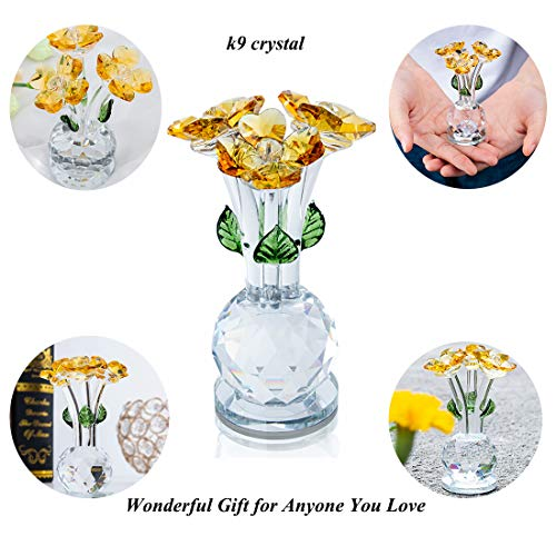 HDCRYSTALGIFTS Crystal Flower Figurine Collectible Statue Ornament Paperweight Table Centerpiece Decor