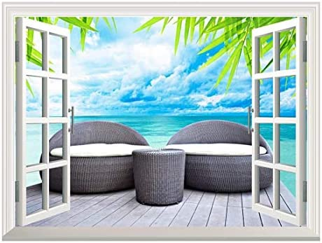 Removable Wall Sticker/Wall Mural - Vacation Concept Rattan Seat Lounge Beside The Sea | Creative Window View Home Decor/Wall Decor - 24