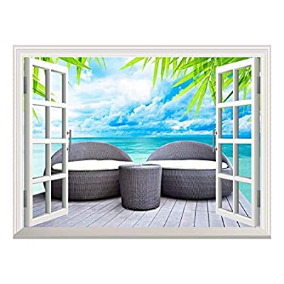 Removable Wall Sticker/Wall Mural - Vacation Concept Rattan Seat Lounge Beside The Sea | Creative Window View Home Decor/Wall Decor - 36