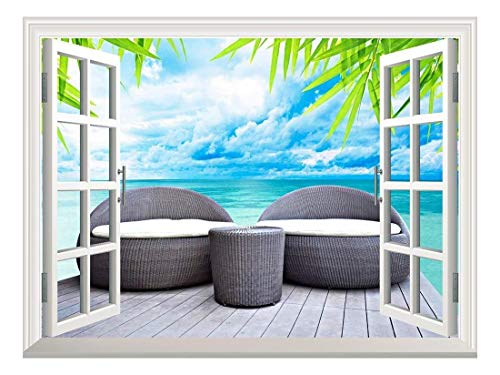 Removable Wall Sticker Wall Mural Vacation Concept Rattan Seat Lounge Beside The Sea Creative Window View Wall Decor