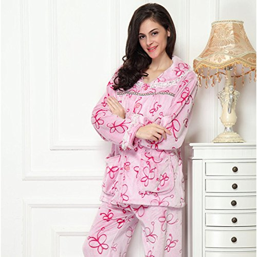 best Ladies' 2-piece Pajama Set short plush men and women lovers section long-sleeved home service suit autumn and winter models , a , m