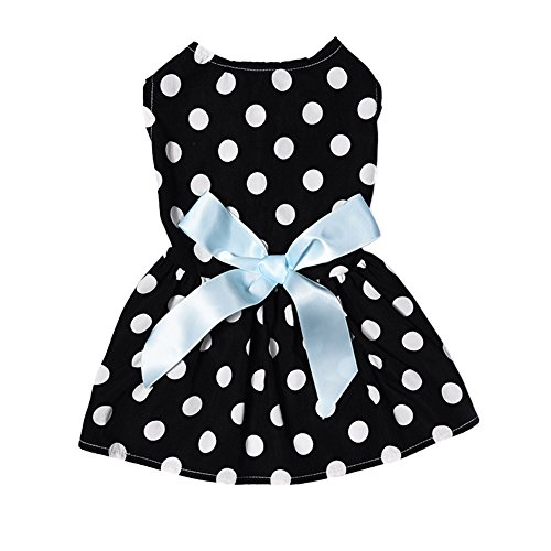 Yunt Classic Black Pet Princess Dress with White Dotted Dog Clothes for Dogs XS