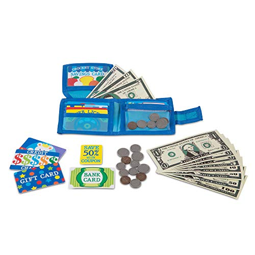 Melissa & Doug Pretend-to-Spend Wallet (Pretend Shopping Toy, 40+ Pieces, Great Gift for Girls and Boys - Best for 3, 4, 5, and 6 Year Olds)