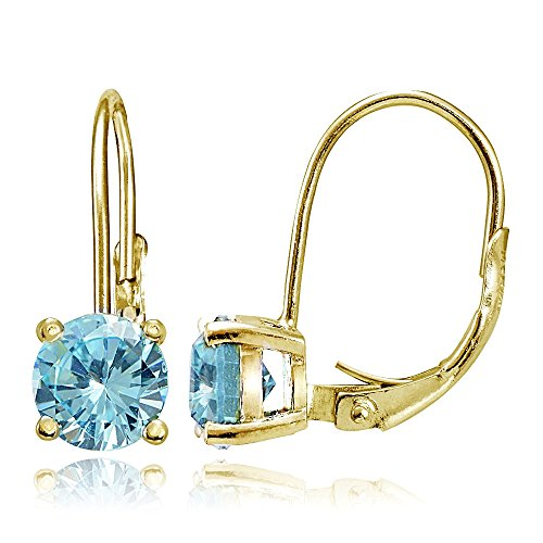 - Yellow Gold Flashed Sterling Silver Blue Topaz 6mm Round Leverback Earrings