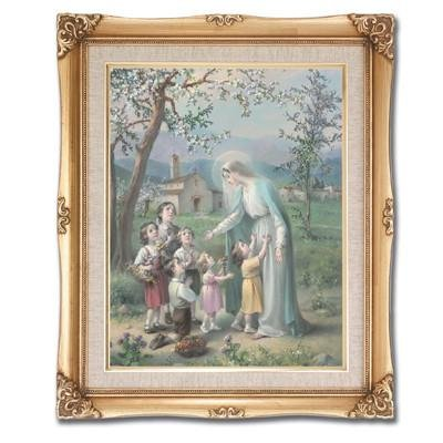 Mary with the Children Framed Art by Discount Catholic Store