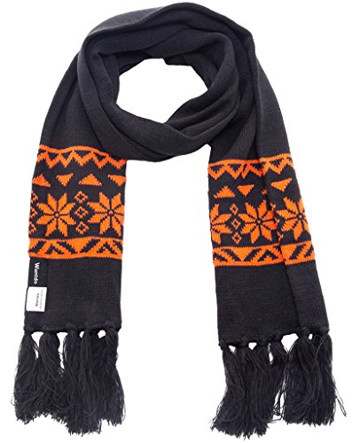 Wantdo Unisex Knitted Scarf Ski Winter Scarf Crochet Snowflake Pattern with Tassel