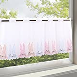 Charming Cute with Beautifully Embroidered Cute Rabbit Bunny Soft Voile Net Curtain Cafe net curtain with Translucent and Opaque (H/W 45x115, Restaurant Kitchen Cafe Curtain Panel – Panne Aux – A Gem in Every Kitchen from the Kamaca Shop – Spring/Easter